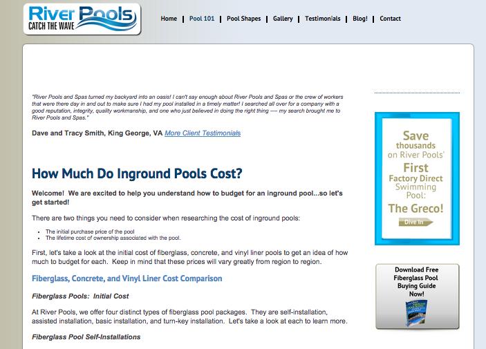 River_Pools_and_Spas_inbound_marketing_eksempel