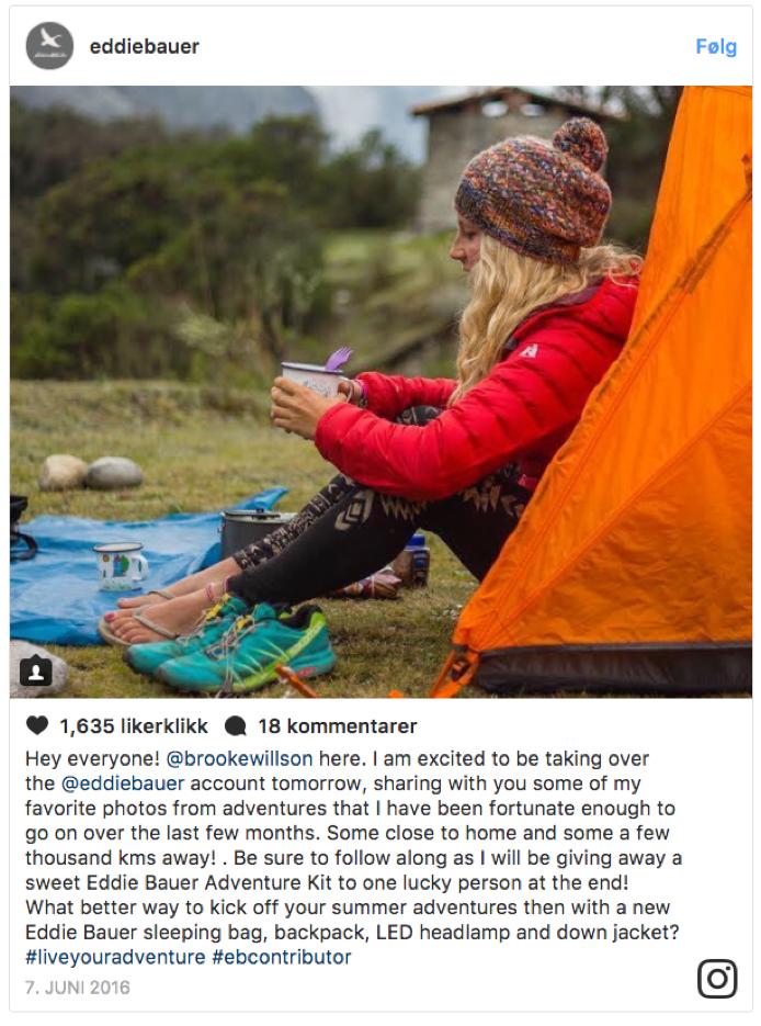 Instagram takeover ved bruk av en influencer eksempel