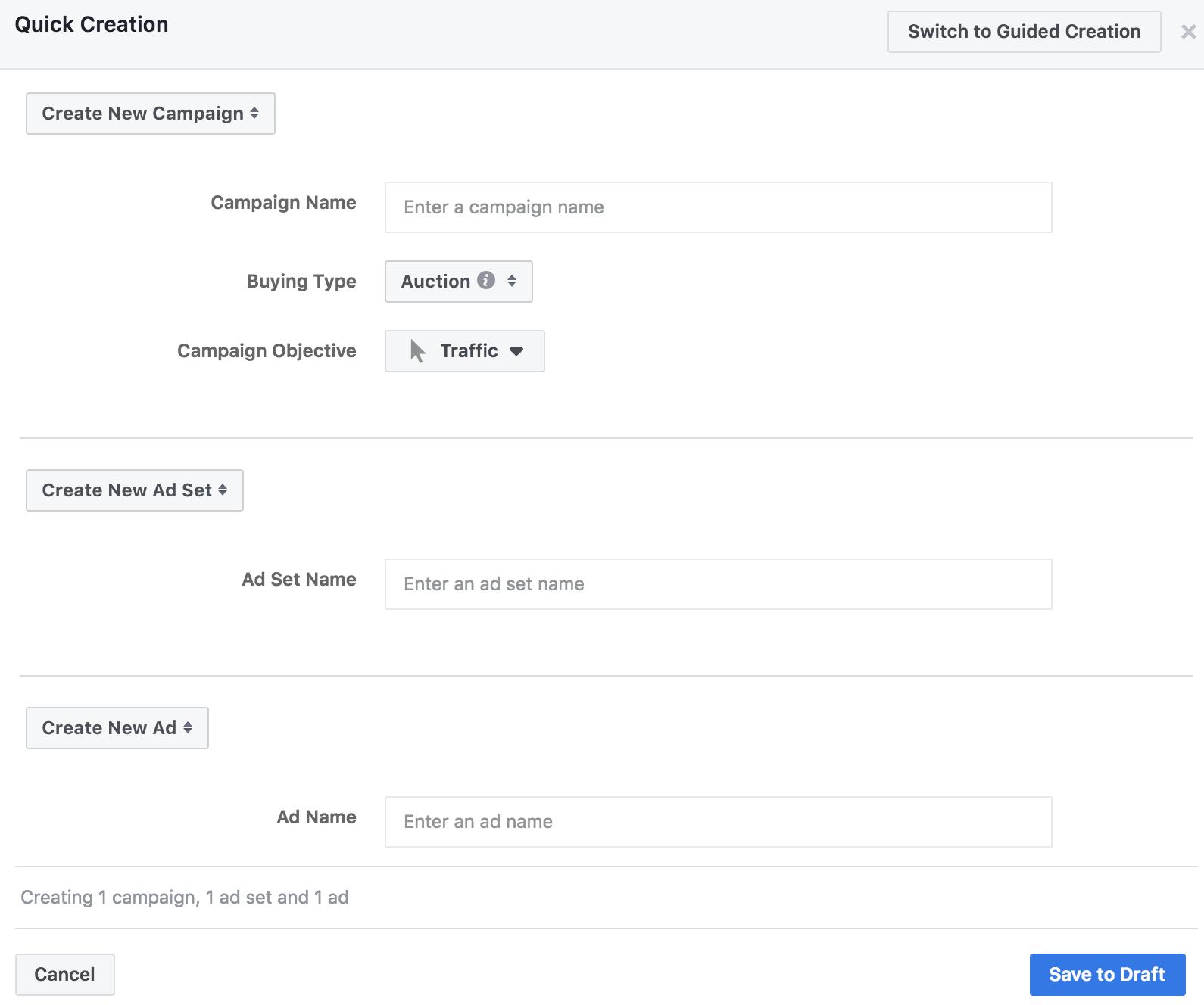 Facebook Ad Manager - Steg 1
