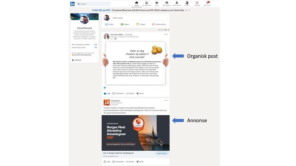 linkedin annonse og post. 2jpg