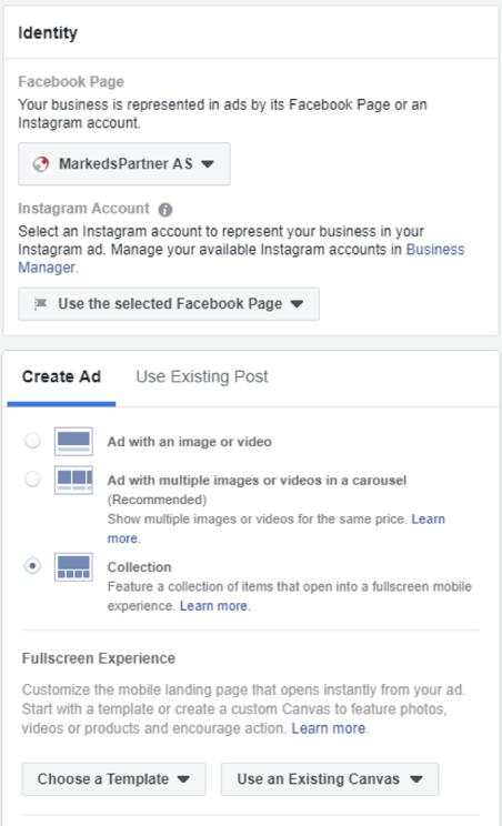 Facebook collection ads eksempel 1