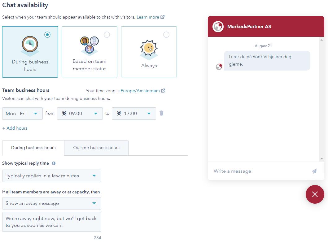 Øk antall konverteringer med Live chat chattilgjengelighet