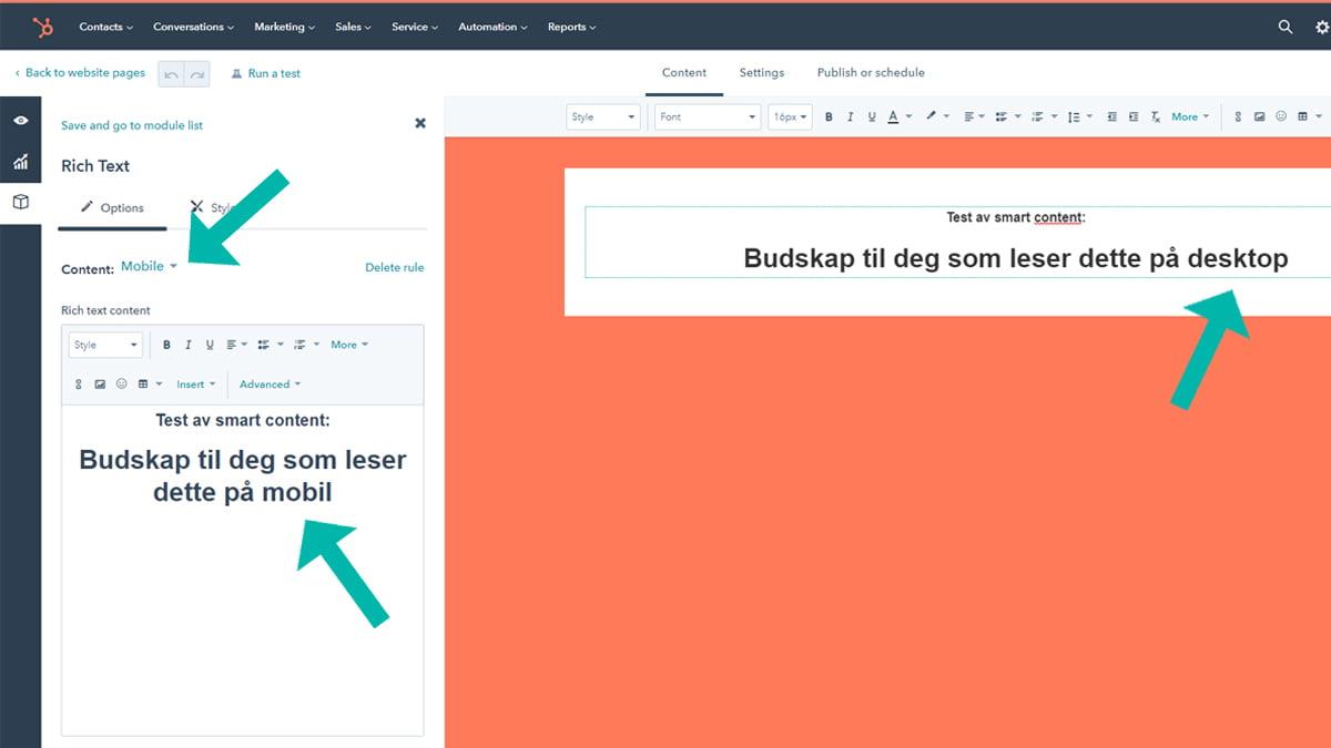 Test av smart content_visning i HubSpot