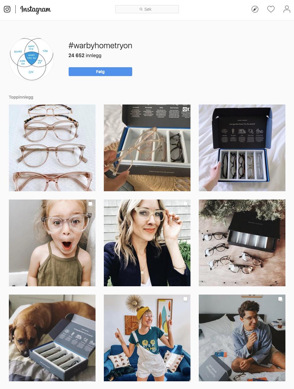 Warby Parker brukergenerert innhold på Instagram