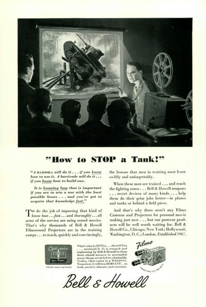 Utklipp fra markedskampanjen til Bell & Howell da de posisjonerte seg i markedet under andre verdenskrig slik at folk ikke skulle glemme dem