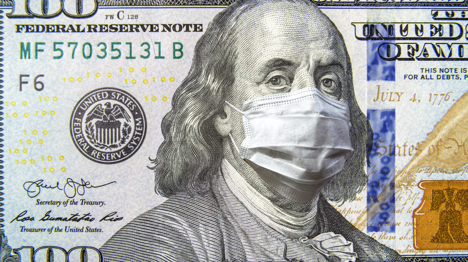 Markedsføring i krisetider - 100 dollar seddel Bill med maske