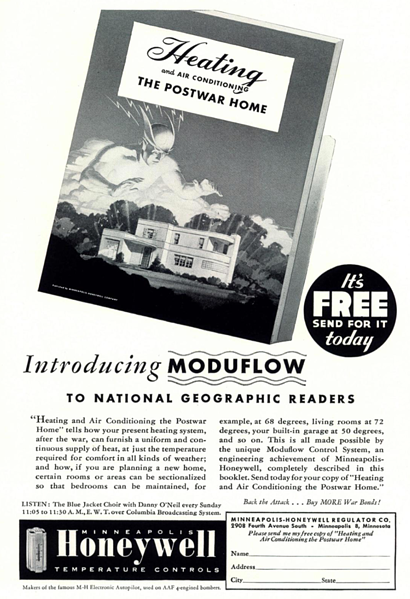 Utklipp fra 1945 da Honeywell posisjonerte seg mot et nytt marked etter krigen