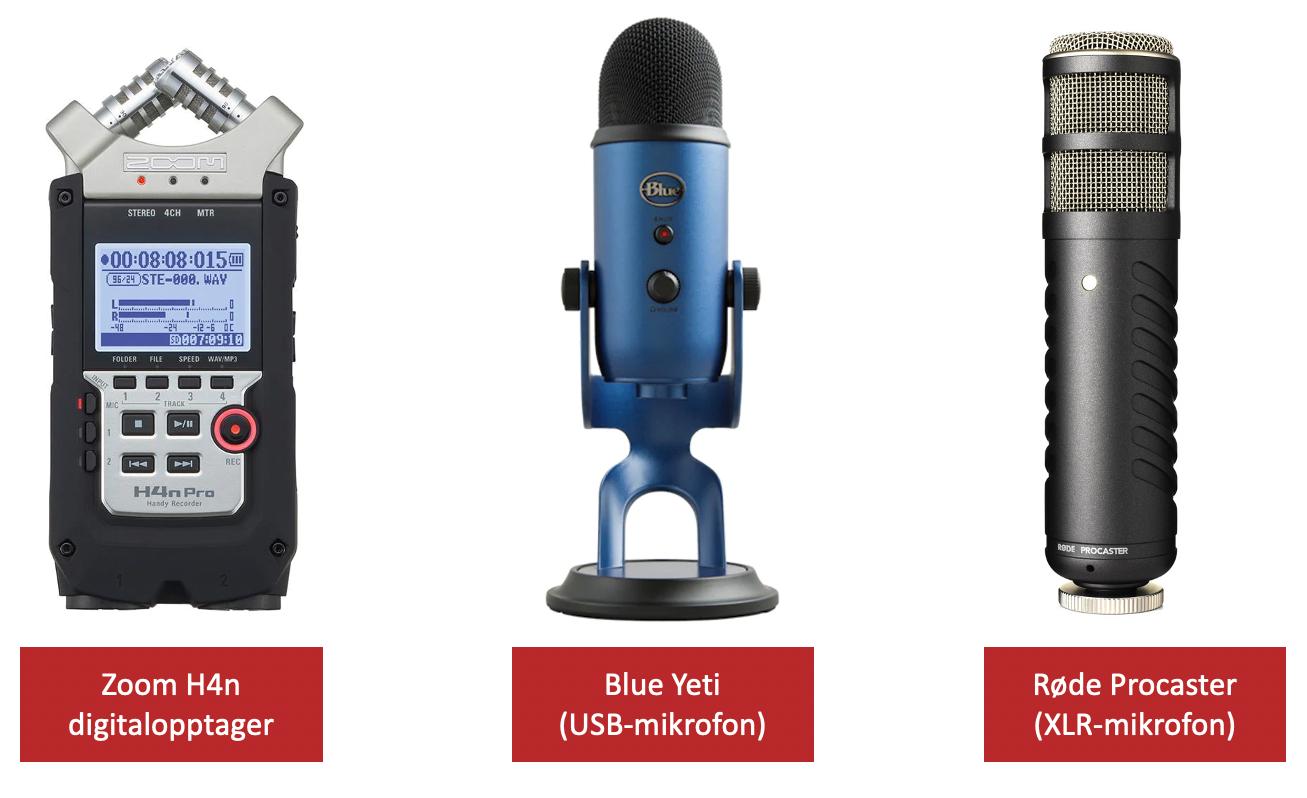 Forskjellige-typer-utstyr-til-podcast-Zoom-H4n-Blue-Yeti-Røde-Podcaster