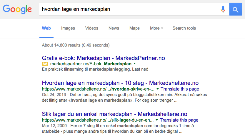 Hvordan lage en markedsplan Google SERP