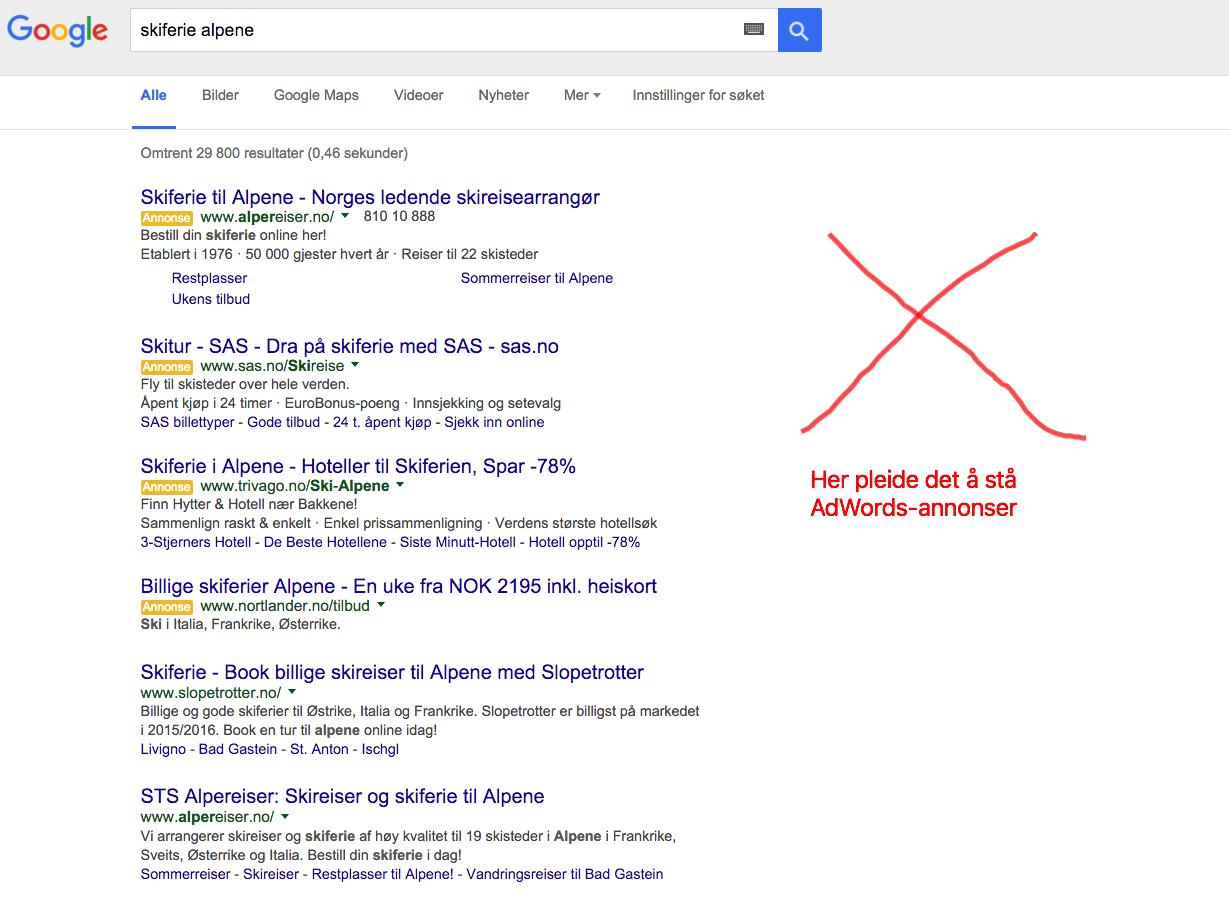 Google fjerner AdWords-annonsene i høyre kolonne