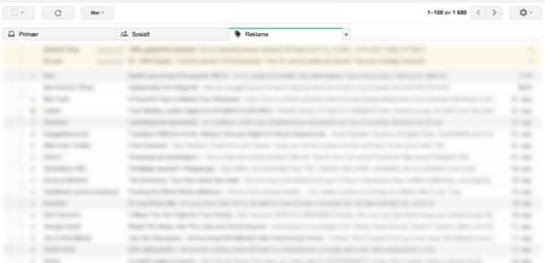 Innboks gmail med reklame