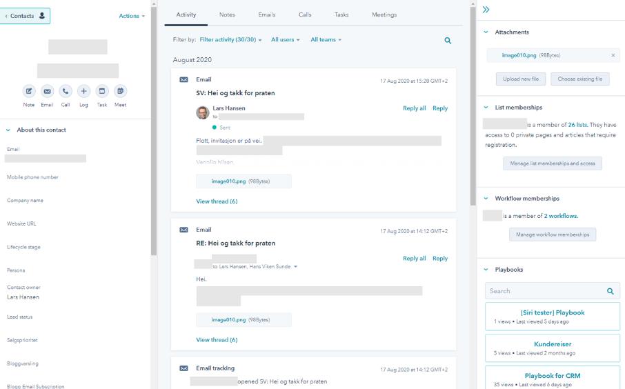 Epost kommunikasjon fra outlook og direkte inn i HubSpot