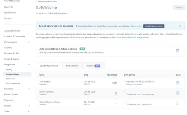 HubSpot GoToWebinar workflow