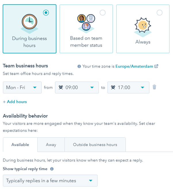 Team business hours and availability behavior_hubspot